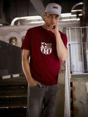 Ciemnoczerwony t-shirt męski FC BARCELONA