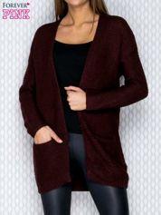 Ciemnofioletowy dziergany sweter