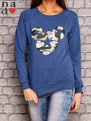 Ciemnoniebieska bluza z nadrukiem moro