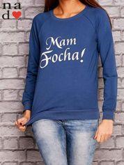 Ciemnoniebieska bluza z napisem MAM FOCHA