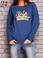Ciemnoniebieska bluza z napisem ZŁOTA DZIEWCZYNA