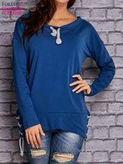 Ciemnoniebieska bluza z wiązaniami