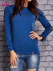Ciemnoniebieska bluzka z wiązaniem na rękawach
