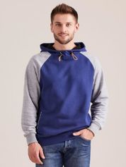 Ciemnoniebieska dresowa bluza męska z kapturem
