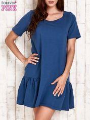 Ciemnoniebieska sukienka dresowa z falbanami z boku