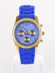 Ciemnoniebieski silikonowy zegarek damski