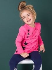 Ciemnoróżowa tunika dla dziewczynki z aplikacją
