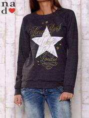 Ciemnoszara bluza z motywem gwiazdek