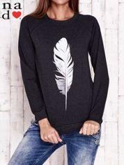 Ciemnoszara bluza z piórkiem