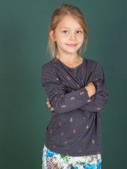 Ciemnoszara bluzka dla dziewczynki w ananasy