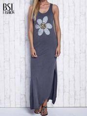 Ciemnoszara dekatyzowana sukienka maxi z cekinowym kwiatem