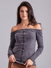 Ciemnoszara prążkowana bluzka hiszpanka
