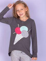 Ciemnoszara tunika dla dziewczynki z naszywką