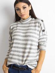 Cienki sweter w paski z półgolfem szary