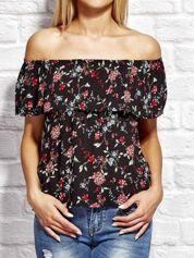 Czarna bluzka w drobny kwiatowy wzór z dekoltem carmen
