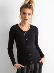 Czarna bluzka w prążek z guzikami