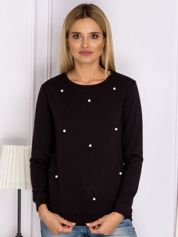 Czarna bluzka z perełkami