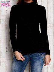 Czarna gładka bluzka z półgolfem