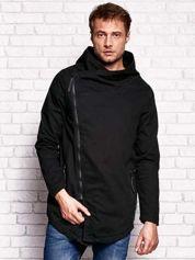 Czarna kurtka męska z asymetrycznym zapięciem