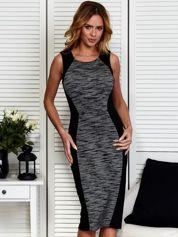 Czarna modelująca sukienka z melanżową wstawką