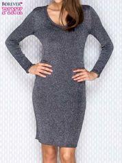 Czarna prążkowana sukienka z metaliczną nicią