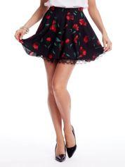 Czarna rozkloszowana spódnica w kolorowe kwiaty