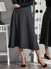 Czarna spódnica midi z motywem geometrycznym