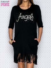 Czarna sukienka z frędzlami i napisem ANGELS