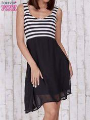 Czarna sukienka z górą w paski