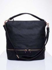 Czarna torba na ramię z ozdobnymi suwakami