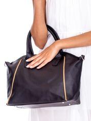 Czarna torba shopper bag z ozdobnymi suwakami