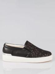 Czarne buty sliponki glitter