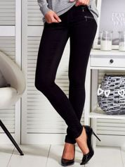 Czarne dopasowane spodnie z suwakami