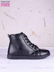 Butik Czarne gładkie sneakersy ze skóry zapinane na suwak