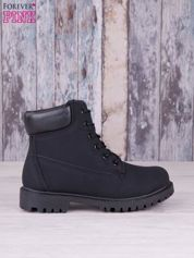 Czarne jednolite buty trekkingowe damskie traperki ocieplane