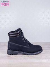 Butik Czarne jednolite buty trekkingowe damskie traperki ocieplane