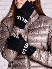 Czarne rękawiczki HELLO na pięć palców z wywijanym ściągaczem