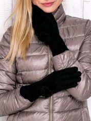Butik Czarne rękawiczki z kokardką i długim ściągaczem