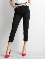 Czarne spodnie high waist z paskiem