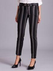 Czarne spodnie w beżowe paski