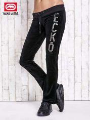Czarne welurowe spodnie dresowe z cekinami
