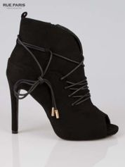 Czarne wiązane botki lace up