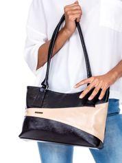Czarno-beżowa torba damska z przeszyciami