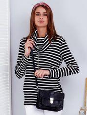 Czarno-biała bluza w paski z łańcuszkiem
