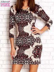 Czarno-różowa sukienka w geometryczne wzory