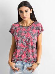 Czarno-różowy t-shirt w palmy