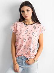Czarno-różowy t-shirt z nadrukiem