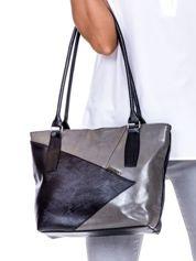 Czarno-szara torba z asymetrycznymi przeszyciami