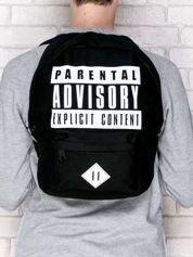 Czarny plecak szkolny PARENTAL ADVISORY