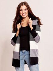 Czarny sweter w paski z kapturem